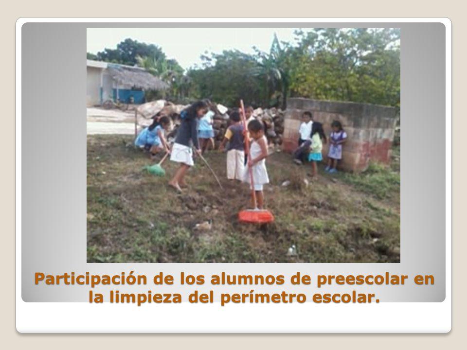 Participación de los alumnos de preescolar en la limpieza del perímetro escolar.