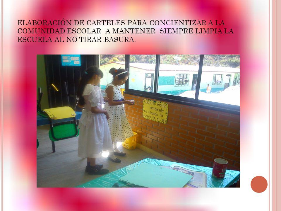 ELABORACIÓN DE CARTELES PARA CONCIENTIZAR A LA COMUNIDAD ESCOLAR A MANTENER SIEMPRE LIMPIA LA ESCUELA AL NO TIRAR BASURA.