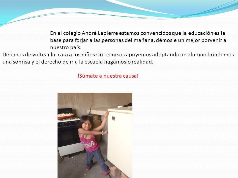 En el colegio André Lapierre estamos convencidos que la educación es la base para forjar a las personas del mañana, démosle un mejor porvenir a nuestro país.