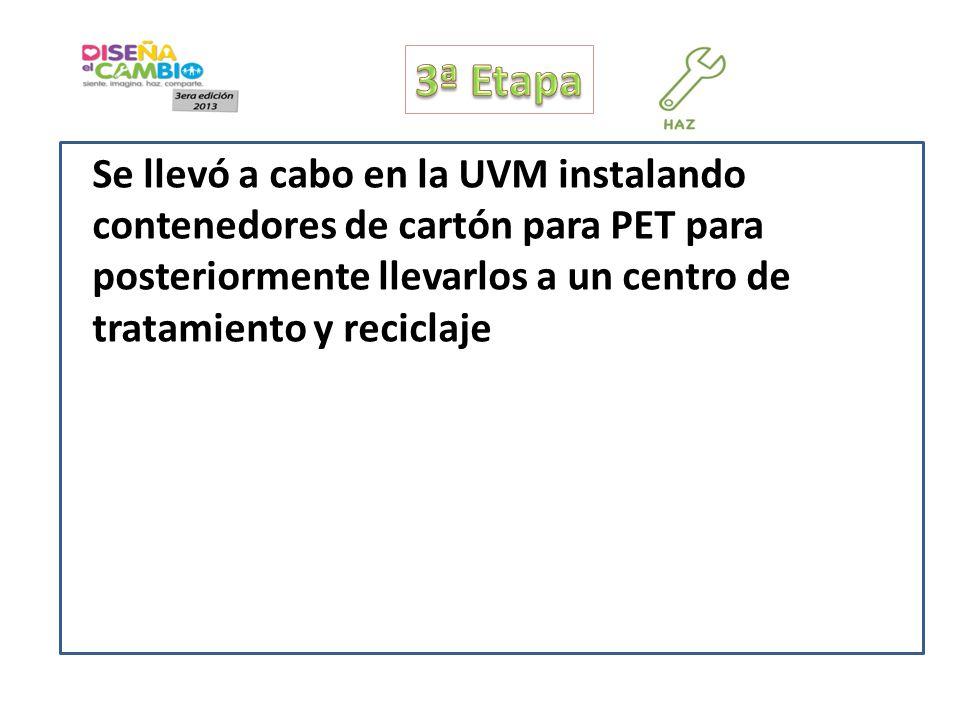 Se llevó a cabo en la UVM instalando contenedores de cartón para PET para posteriormente llevarlos a un centro de tratamiento y reciclaje