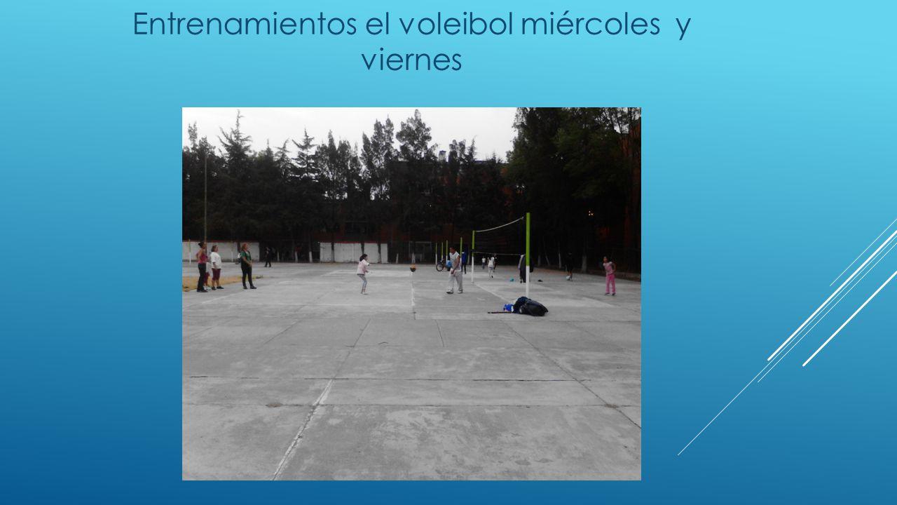 Entrenamientos el voleibol miércoles y viernes