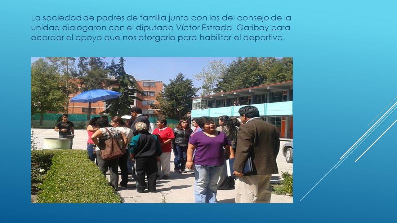 La sociedad de padres de familia junto con los del consejo de la unidad dialogaron con el diputado Víctor Estrada Garibay para acordar el apoyo que no