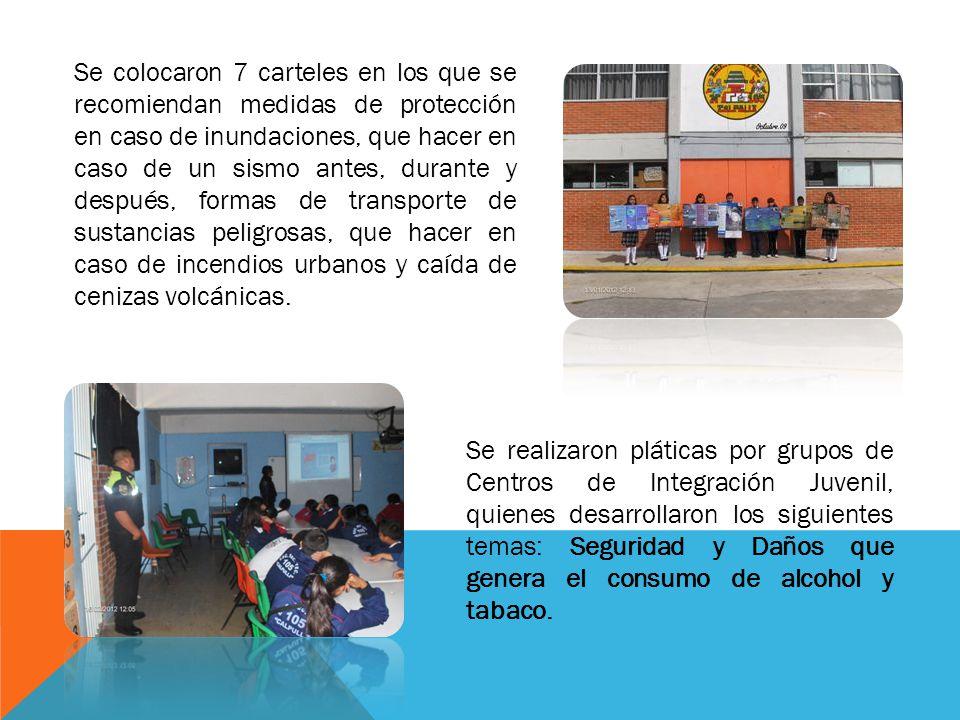 Se colocaron 7 carteles en los que se recomiendan medidas de protección en caso de inundaciones, que hacer en caso de un sismo antes, durante y despué