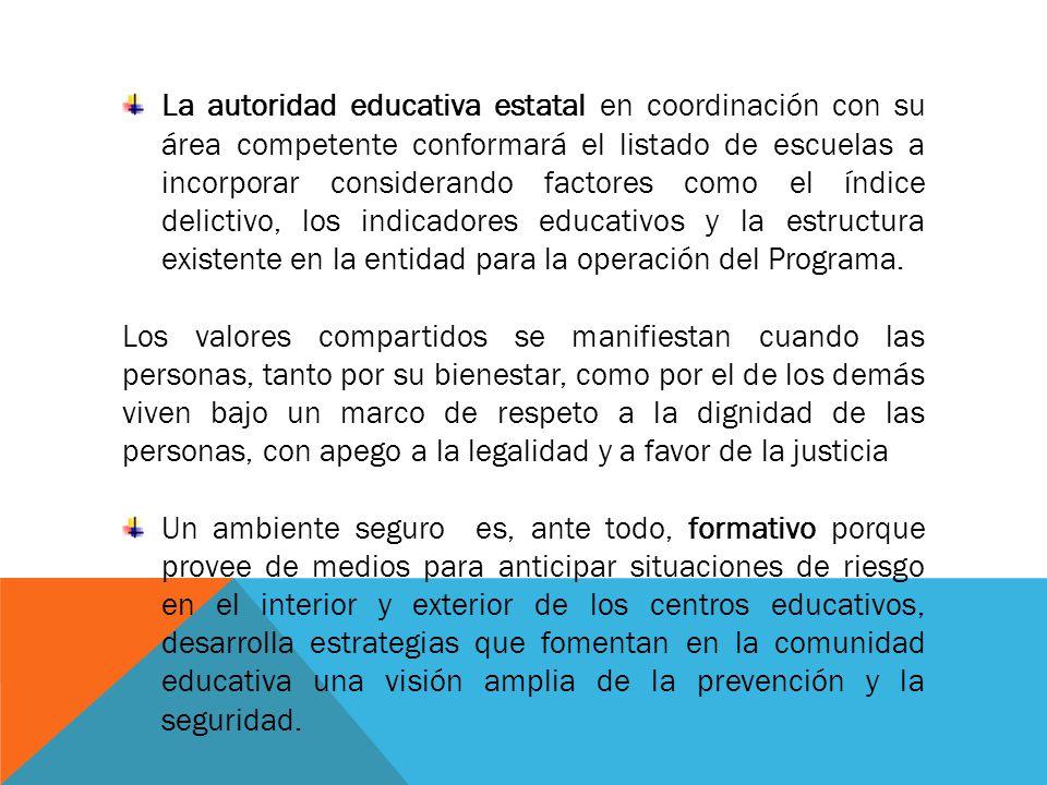 La autoridad educativa estatal en coordinación con su área competente conformará el listado de escuelas a incorporar considerando factores como el índ