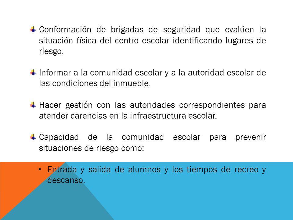 Conformación de brigadas de seguridad que evalúen la situación física del centro escolar identificando lugares de riesgo. Informar a la comunidad esco