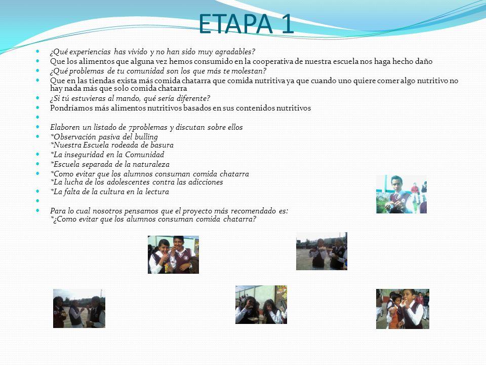 ETAPA 1 ¿Qué experiencias has vivido y no han sido muy agradables.