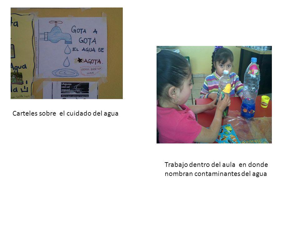 Carteles sobre el cuidado del agua Trabajo dentro del aula en donde nombran contaminantes del agua