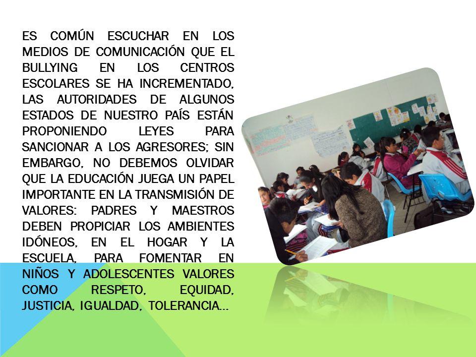 ESCUELA SECUNDARIA OFICIAL NO. 320 SAN ANTONIO ACAHUALCO, ZINACANTEPEC, MÉXICO; 2012 TURNO VESPERTINO «EL BULLYING COMO PROBLEMA SOCIAL» «JUAN PABLOS»