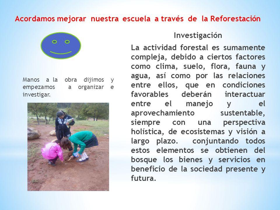 Acordamos mejorar nuestra escuela a través de la Reforestación Investigación La actividad forestal es sumamente compleja, debido a ciertos factores co