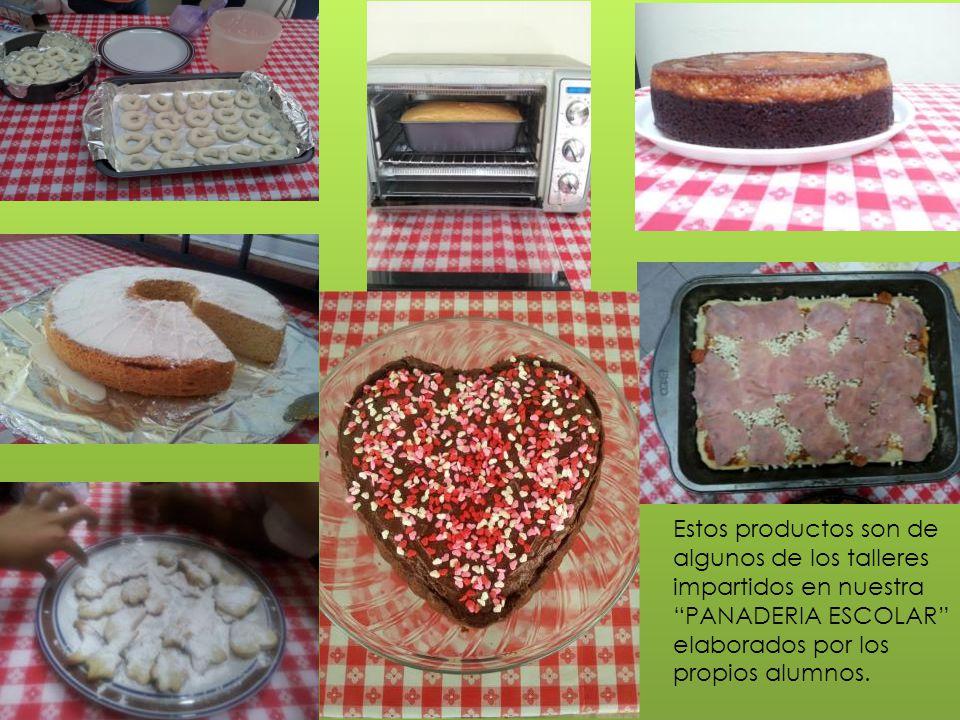 Estos productos son de algunos de los talleres impartidos en nuestra PANADERIA ESCOLAR elaborados por los propios alumnos.