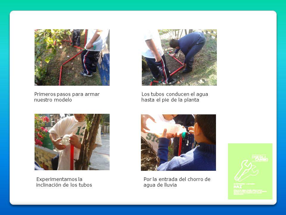 Primeros pasos para armar nuestro modelo Los tubos conducen el agua hasta el pie de la planta Experimentamos la inclinación de los tubos Por la entrad