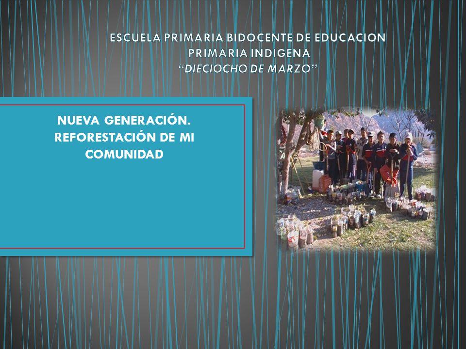 NUEVA GENERACIÓN. REFORESTACIÓN DE MI COMUNIDAD