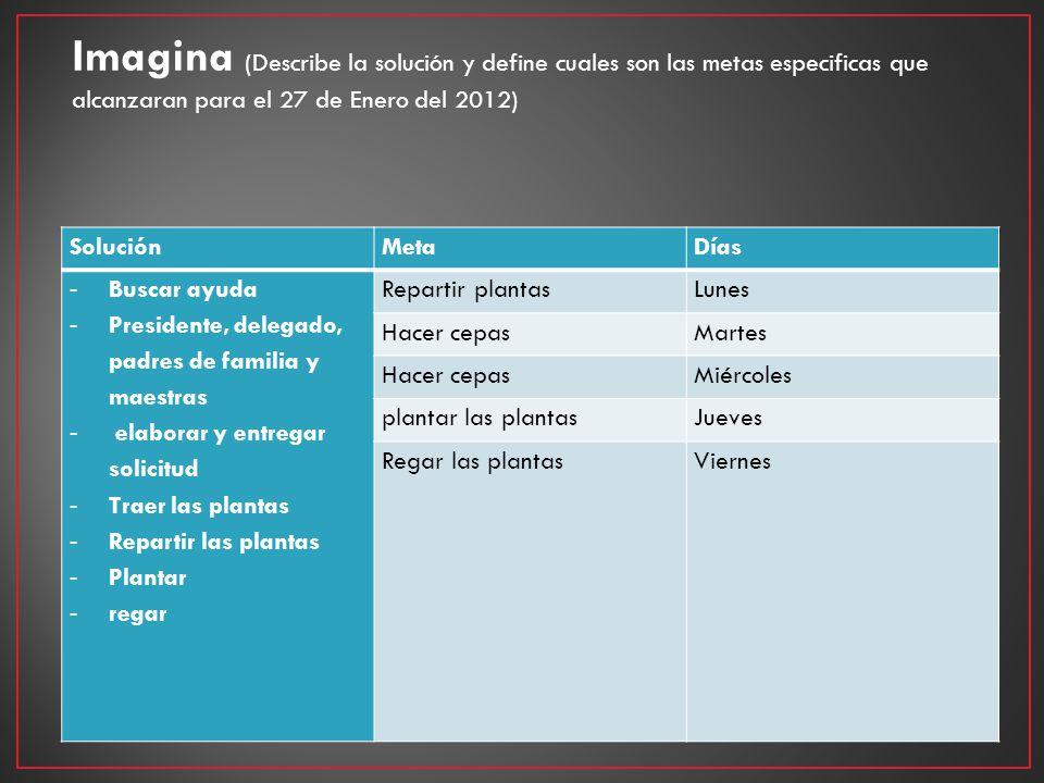 Imagina (Describe la solución y define cuales son las metas especificas que alcanzaran para el 27 de Enero del 2012) SoluciónMetaDías - Buscar ayuda -