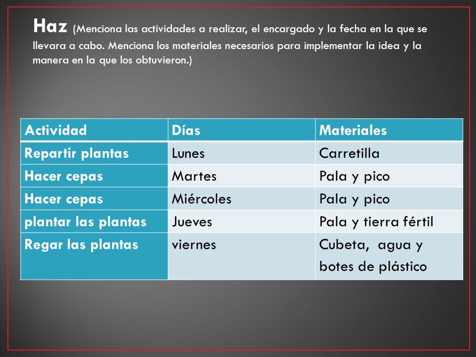 Haz (Menciona las actividades a realizar, el encargado y la fecha en la que se llevara a cabo. Menciona los materiales necesarios para implementar la