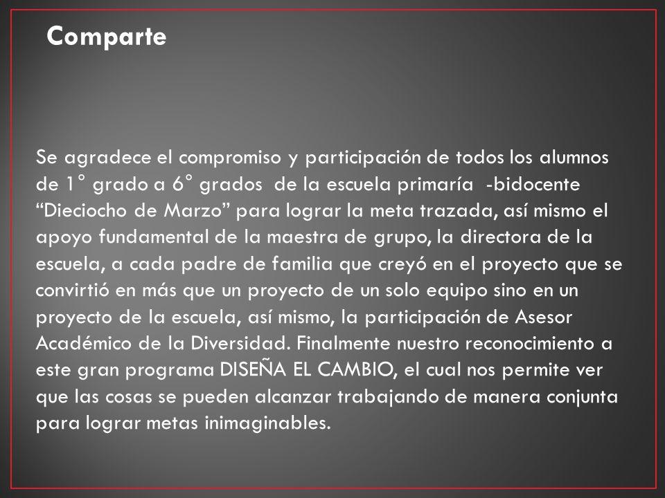 Comparte Se agradece el compromiso y participación de todos los alumnos de 1° grado a 6° grados de la escuela primaría -bidocente Dieciocho de Marzo p