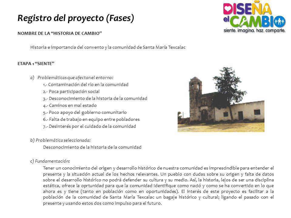 Registro del proyecto (Fases) NOMBRE DE LA HISTORIA DE CAMBIO Historia e importancia del convento y la comunidad de Santa María Texcalac ETAPA 1 SIENT