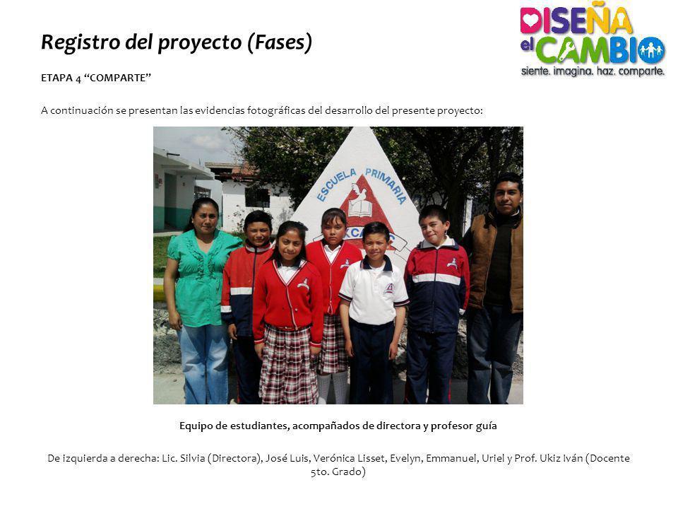 Registro del proyecto (Fases) ETAPA 4 COMPARTE A continuación se presentan las evidencias fotográficas del desarrollo del presente proyecto: Equipo de