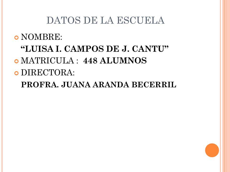 DATOS DE LA ESCUELA NOMBRE: LUISA I. CAMPOS DE J. CANTU MATRICULA : 448 ALUMNOS DIRECTORA: PROFRA. JUANA ARANDA BECERRIL