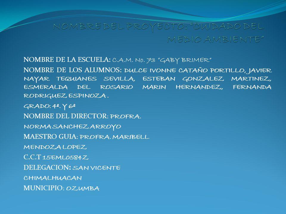 NOMBRE DE LA ESCUELA: C.A.M. No. 73 GABY BRIMER NOMBRE DE LOS ALUMNOS: DULCE IVONNE CATAÑO PORTILLO, JAVIER NAYAR TEQUIANES SEVILLA, ESTEBAN GONZALEZ