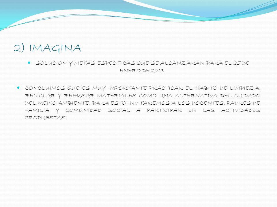 2) IMAGINA SOLUCION Y METAS ESPECIFICAS QUE SE ALCANZARAN PARA EL 25 DE ENERO DE 2013. CONCLUIMOS QUE ES MUY IMPORTANTE PRACTICAR EL HABITO DE LIMPIEZ