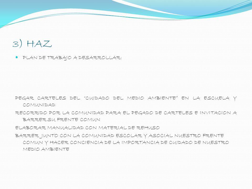 3) HAZ PLAN DE TRABAJO A DESARROLLAR: PEGAR CARTELES DEL CUIDADO DEL MEDIO AMBIENTE EN LA ESCUELA Y COMUNIDAD RECORRIDO POR LA COMUNIDAD PARA EL PEGAD