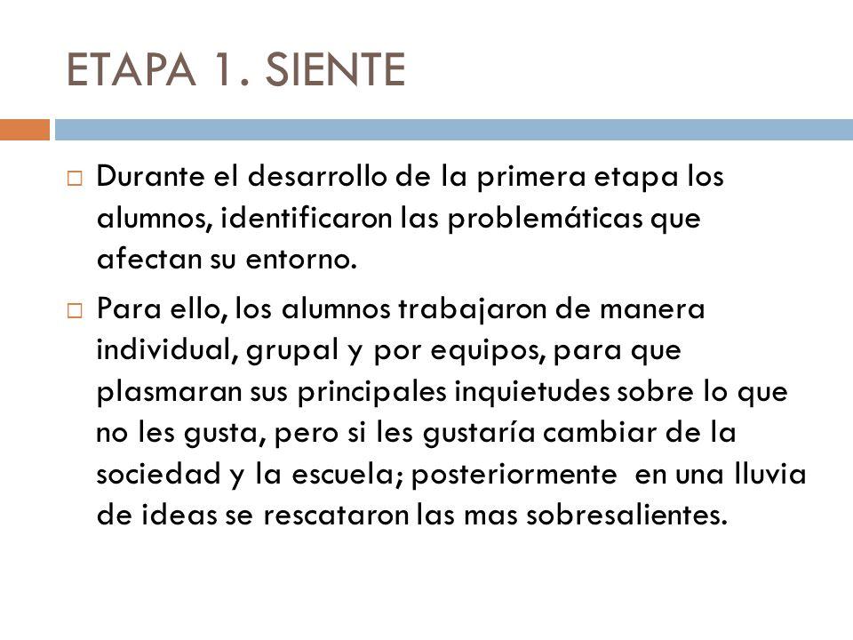 ETAPA 1. SIENTE Durante el desarrollo de la primera etapa los alumnos, identificaron las problemáticas que afectan su entorno. Para ello, los alumnos