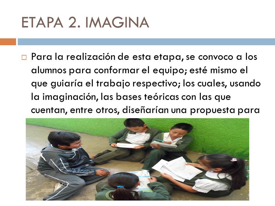 ETAPA 2. IMAGINA Para la realización de esta etapa, se convoco a los alumnos para conformar el equipo; esté mismo el que guiaría el trabajo respectivo