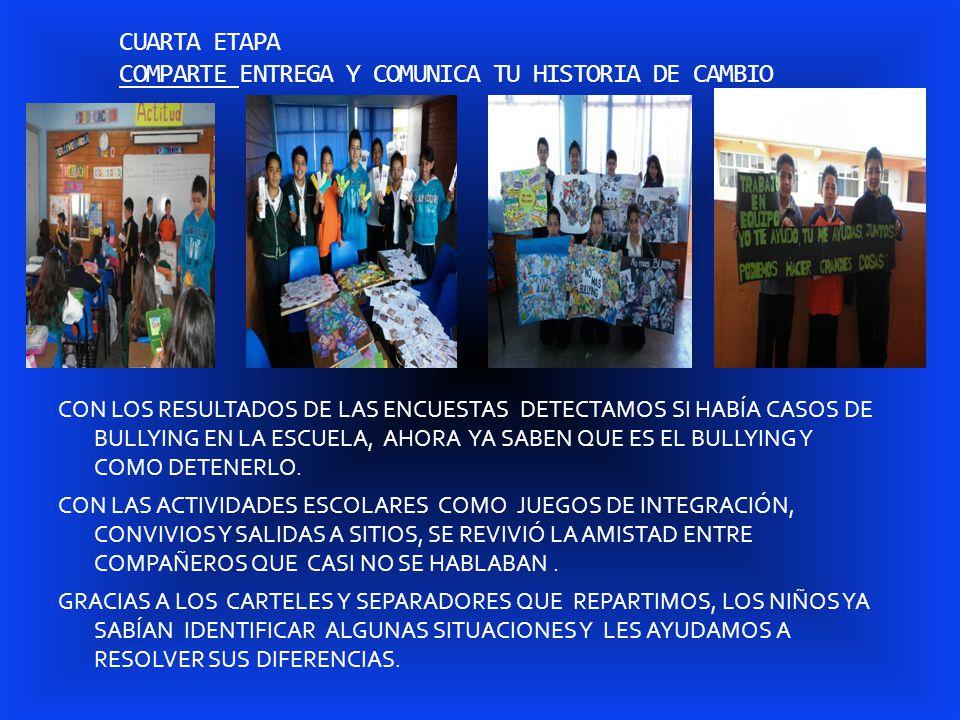 CUARTA ETAPA COMPARTE ENTREGA Y COMUNICA TU HISTORIA DE CAMBIO CON LOS RESULTADOS DE LAS ENCUESTAS DETECTAMOS SI HABÍA CASOS DE BULLYING EN LA ESCUELA, AHORA YA SABEN QUE ES EL BULLYING Y COMO DETENERLO.