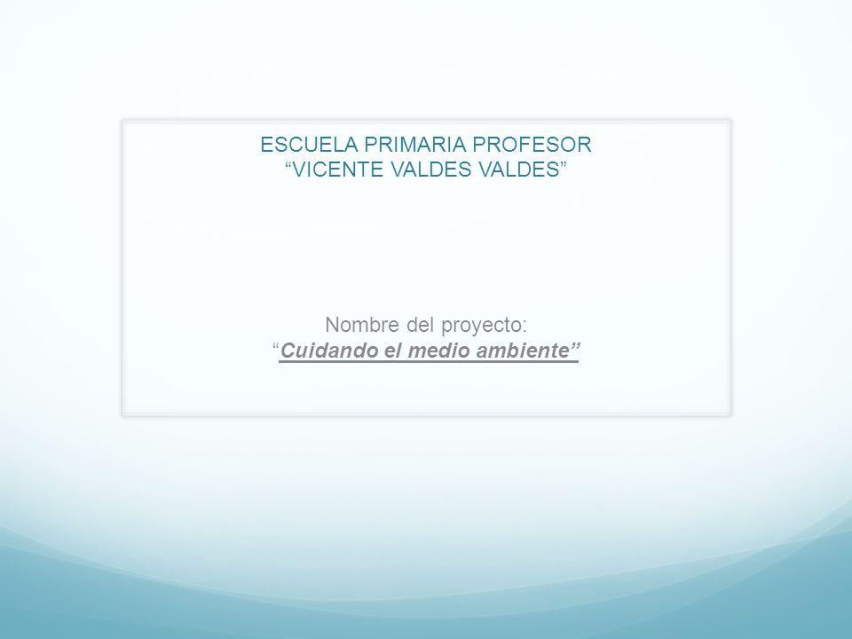 ESCUELA PRIMARIA PROFESOR VICENTE VALDES VALDES Nombre del proyecto:Cuidando el medio ambiente