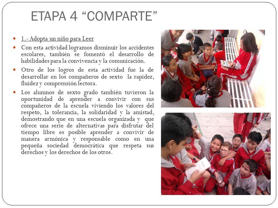 ETAPA 4 COMPARTE 1.- Adopta un niño para Leer Con esta actividad logramos disminuir los accidentes escolares, también se fomentó el desarrollo de habi
