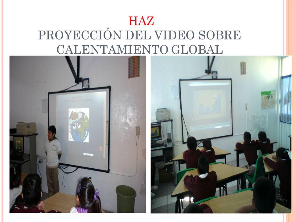 ACTIVIDADES INFORMATIVAS FECHAACTIVIDADDIRIGIDA ACORDINADOR 09 de Noviembre de 2011 Proyección de un video sobre el calentamiento global Alumnos, maes