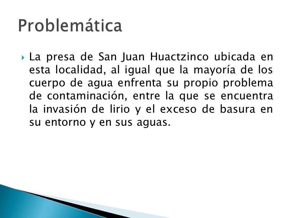 La presa de San Juan Huactzinco ubicada en esta localidad, al igual que la mayoría de los cuerpo de agua enfrenta su propio problema de contaminación, entre la que se encuentra la invasión de lirio y el exceso de basura en su entorno y en sus aguas.