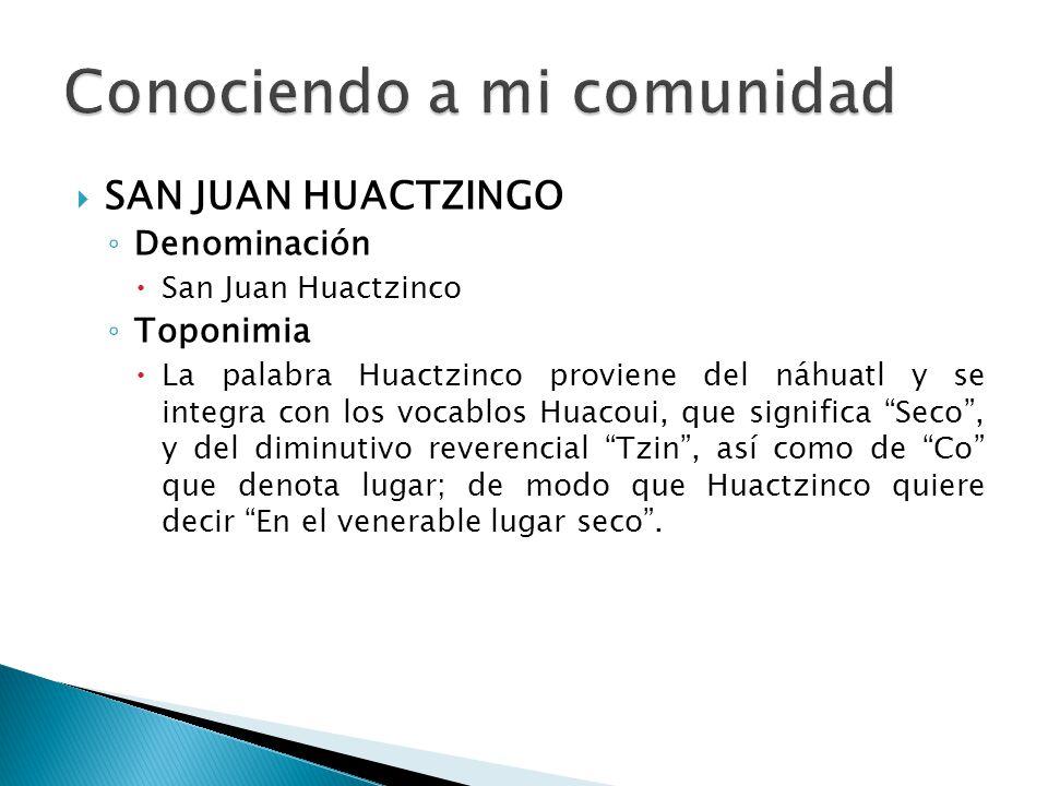SAN JUAN HUACTZINGO Denominación San Juan Huactzinco Toponimia La palabra Huactzinco proviene del náhuatl y se integra con los vocablos Huacoui, que s