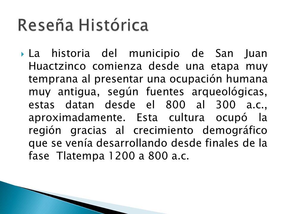 La historia del municipio de San Juan Huactzinco comienza desde una etapa muy temprana al presentar una ocupación humana muy antigua, según fuentes arqueológicas, estas datan desde el 800 al 300 a.c., aproximadamente.
