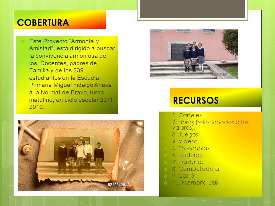 COBERTURA Este Proyecto Armonía y Amistad, está dirigido a buscar la convivencia armoniosa de los Docentes, padres de Familia y de los 239 estudiantes