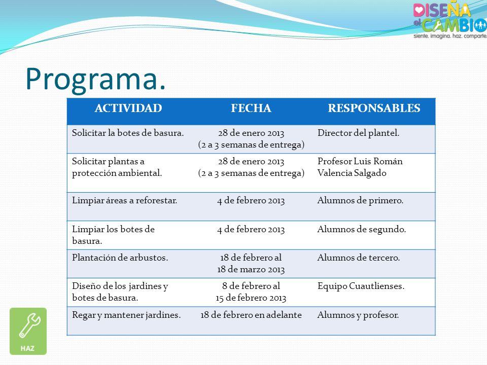 Programa. ACTIVIDADFECHARESPONSABLES Solicitar la botes de basura.28 de enero 2013 (2 a 3 semanas de entrega) Director del plantel. Solicitar plantas