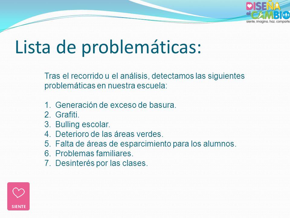 Tras el recorrido u el análisis, detectamos las siguientes problemáticas en nuestra escuela: 1.Generación de exceso de basura. 2.Grafiti. 3.Bulling es