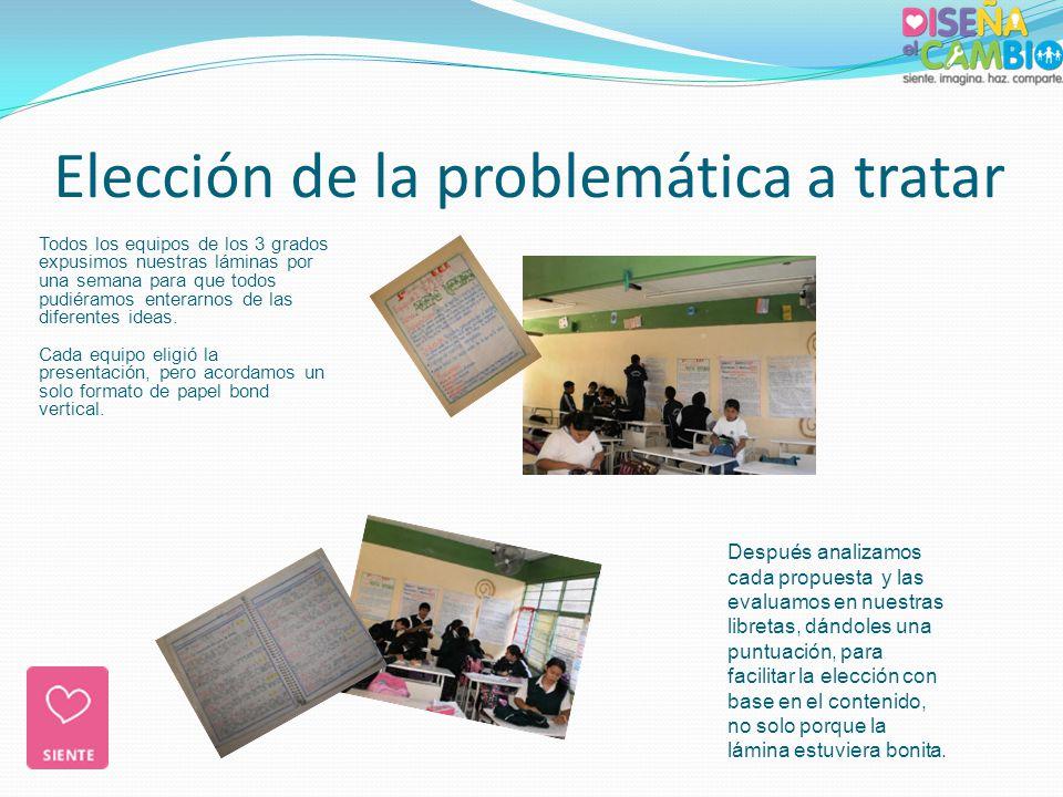 Elección de la problemática a tratar Después analizamos cada propuesta y las evaluamos en nuestras libretas, dándoles una puntuación, para facilitar l