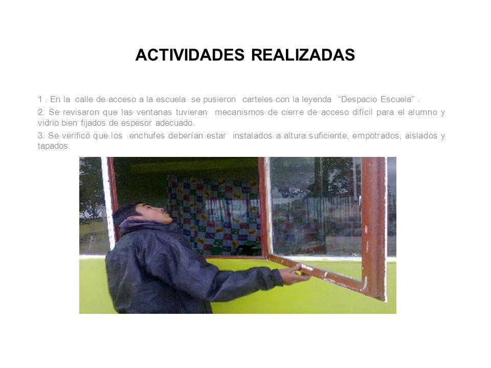 ACTIVIDADES REALIZADAS 1. En la calle de acceso a la escuela se pusieron carteles con la leyenda Despacio Escuela. 2. Se revisaron que las ventanas tu