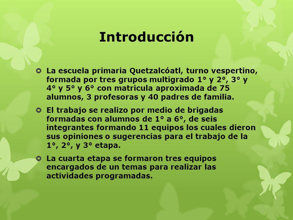 Introducción La escuela primaria Quetzalcóatl, turno vespertino, formada por tres grupos multigrado 1° y 2°, 3° y 4° y 5° y 6° con matricula aproximad
