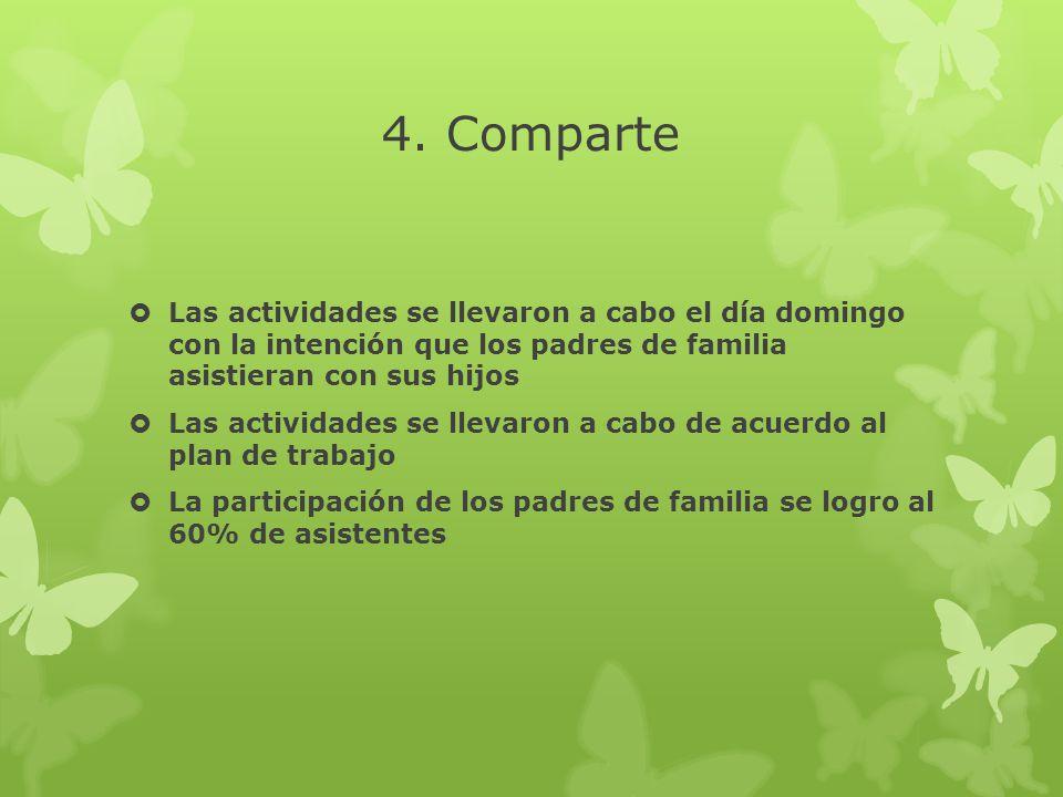 4. Comparte Las actividades se llevaron a cabo el día domingo con la intención que los padres de familia asistieran con sus hijos Las actividades se l