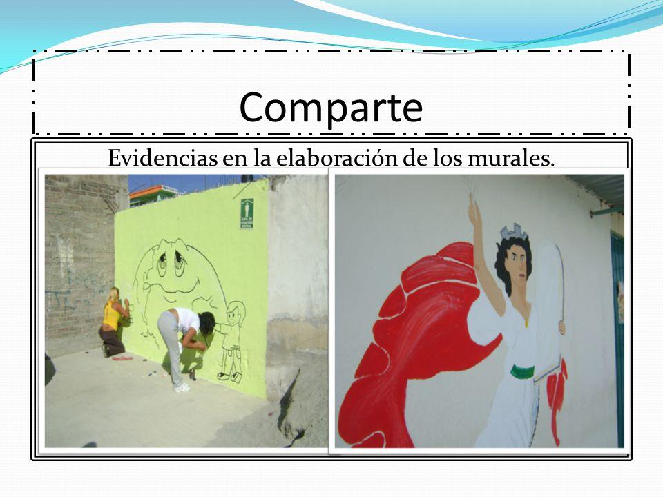 Comparte Evidencias en la elaboración de los murales.
