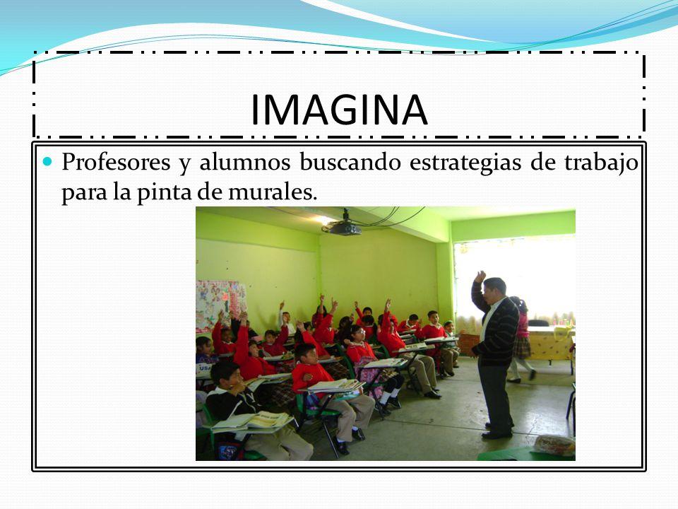 IMAGINA Profesores y alumnos buscando estrategias de trabajo para la pinta de murales.