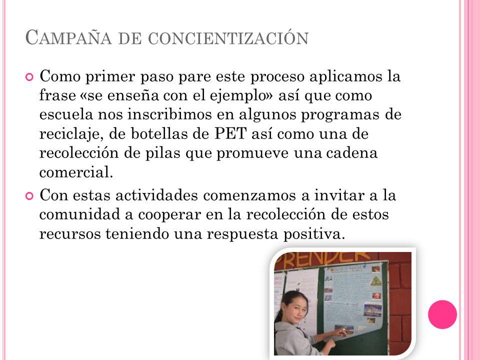 C AMPAÑA DE CONCIENTIZACIÓN Como primer paso pare este proceso aplicamos la frase «se enseña con el ejemplo» así que como escuela nos inscribimos en a