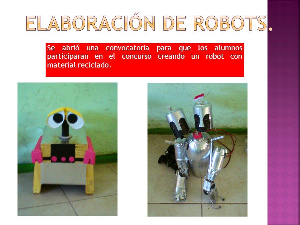 Se abrió una convocatoria para que los alumnos participaran en el concurso creando un robot con material reciclado.
