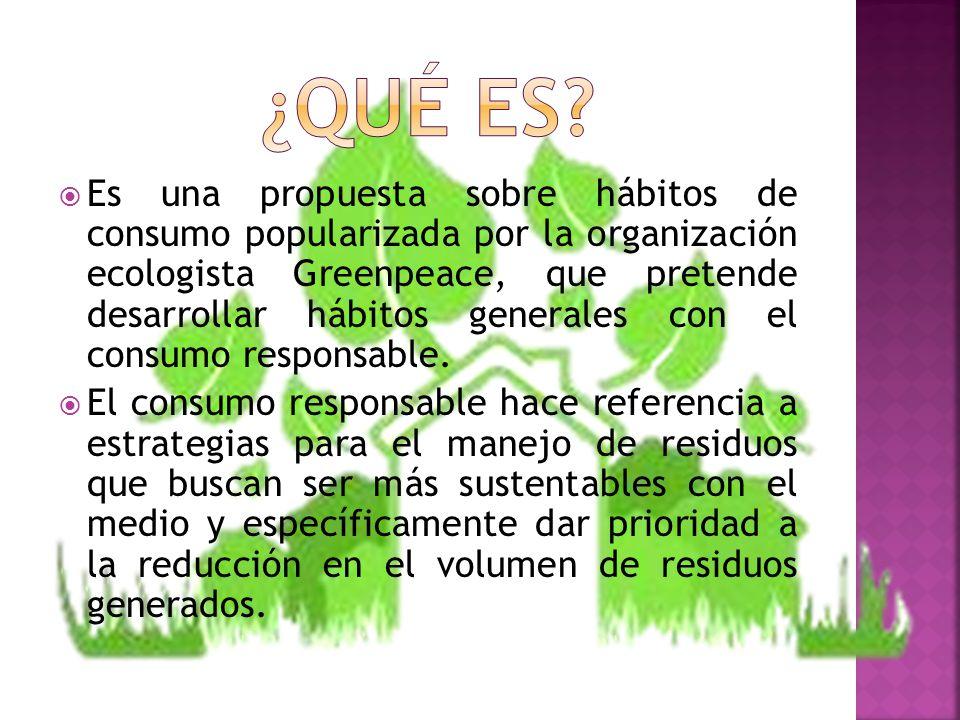 Es una propuesta sobre hábitos de consumo popularizada por la organización ecologista Greenpeace, que pretende desarrollar hábitos generales con el co