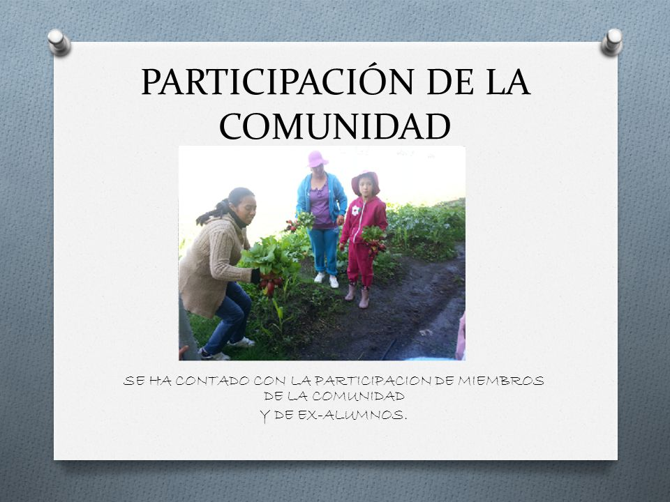 PARTICIPACIÓN DE LA COMUNIDAD SE HA CONTADO CON LA PARTICIPACION DE MIEMBROS DE LA COMUNIDAD Y DE EX-ALUMNOS.