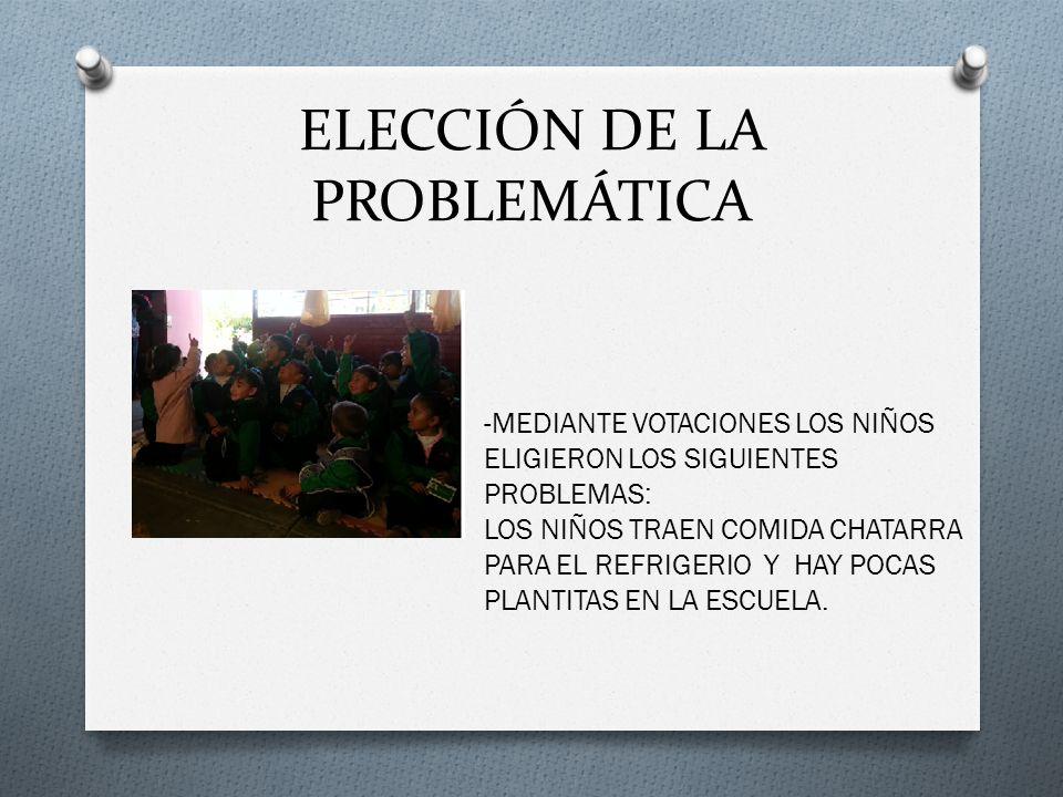 ELECCIÓN DE LA PROBLEMÁTICA -MEDIANTE VOTACIONES LOS NIÑOS ELIGIERON LOS SIGUIENTES PROBLEMAS: LOS NIÑOS TRAEN COMIDA CHATARRA PARA EL REFRIGERIO Y HAY POCAS PLANTITAS EN LA ESCUELA.