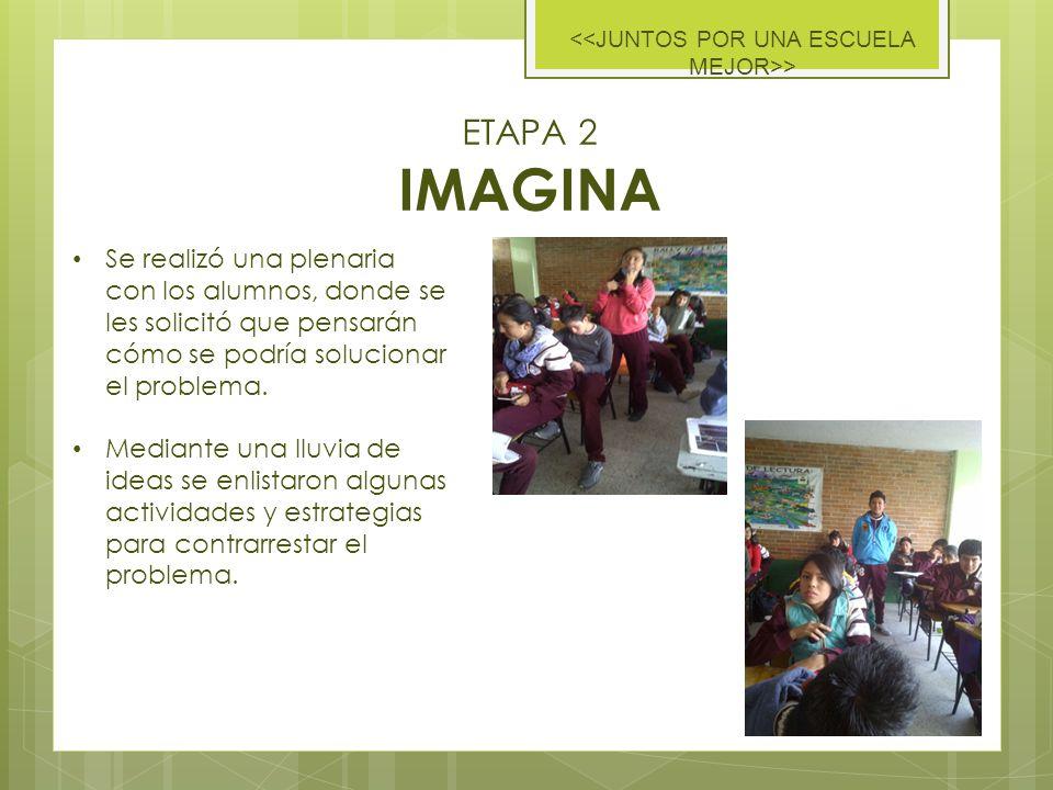 ETAPA 2 IMAGINA > Se realizó una plenaria con los alumnos, donde se les solicitó que pensarán cómo se podría solucionar el problema.