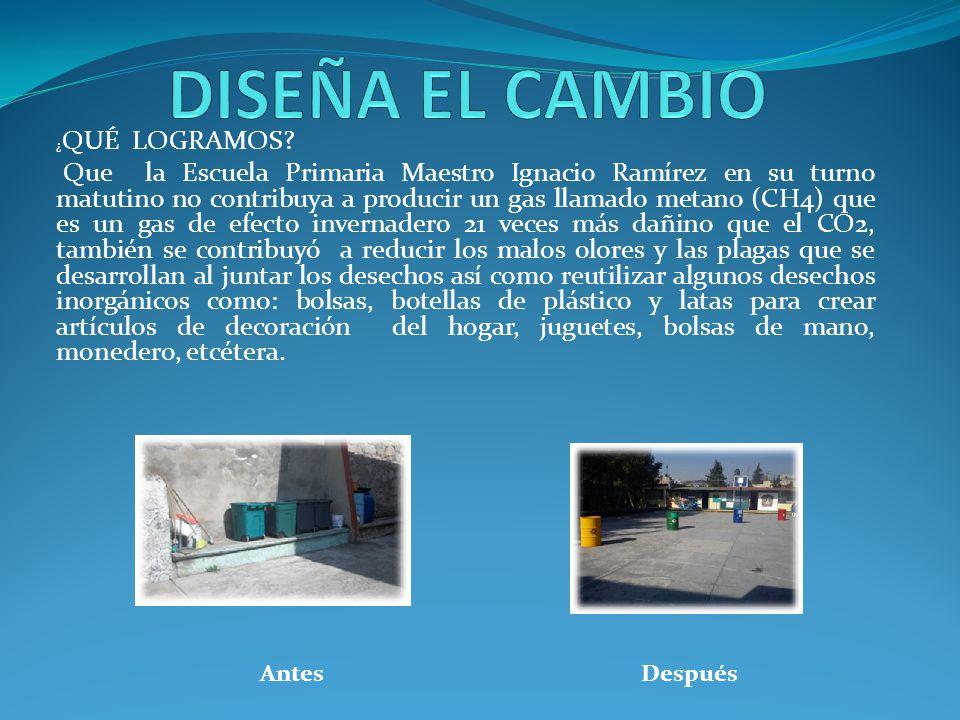 ¿ QUÉ LOGRAMOS? Que la Escuela Primaria Maestro Ignacio Ramírez en su turno matutino no contribuya a producir un gas llamado metano (CH4) que es un ga
